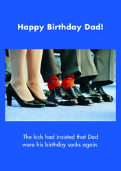 Happy Birthday Dad! The kids had insisted that Dad wore his birthday socks again.